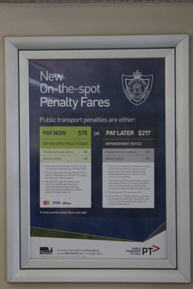 'New On-the-top Penalty Fares' poster onboard a tram