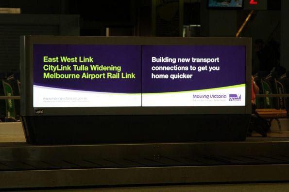 Government propaganda at Melbourne Airport spruiking unfunded transport projects