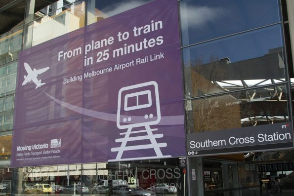 'From plane to train in 25 minutes' propaganda for the Melbourne Airport Rail Link at Southern Cross Station
