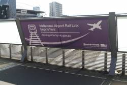 'Melbourne Airport Rail Link begins here' propaganda at Southern Cross Station