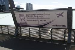 'Connecting Southern Cross to Melbourne Airport' propaganda at Southern Cross Station