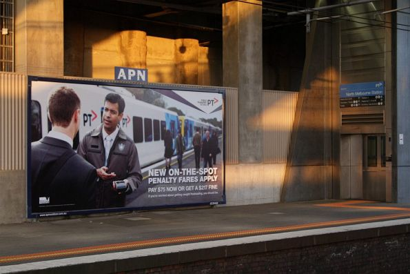 PTV advertising the new on-the-spot 'Penalty Fares' regime at North Melbourne station