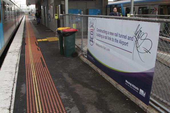 'Building a rail line to Melbourne Airport' propaganda at Albion station