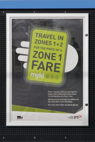 PTV poster promoting cuts to zone 1+2 ticket prices after January 2015