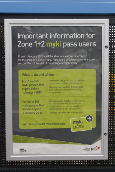 PTV poster promoting the changes to zone 1+2 tickets after January 2015