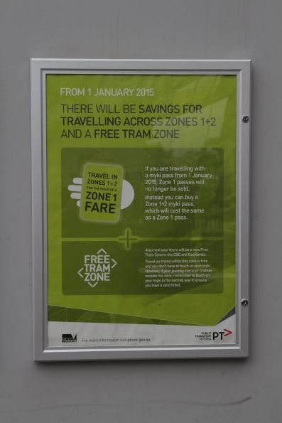 PTV poster promoting the changes to zone 1+2 tickets and the 'Free Tram Zone' after January 2015