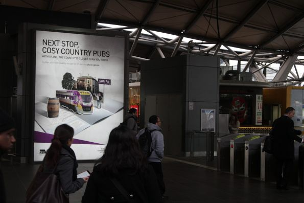 'Next stop, cosy country pubs' promotion for V/Line, at Southern Cross Station