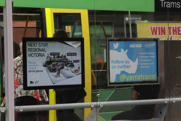 PTV promotion for V/Line on a Melbourne CBD tram stop