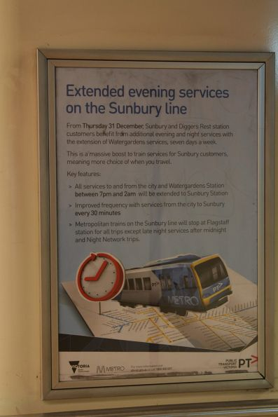 PTV poster promoting additional evening trains to Sunbury and Diggers Rest from 31 December 2015