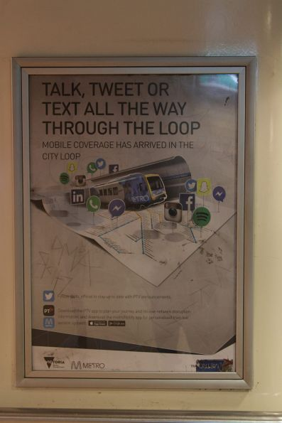 PTV poster promoting mobile phone coverage in the City Loop