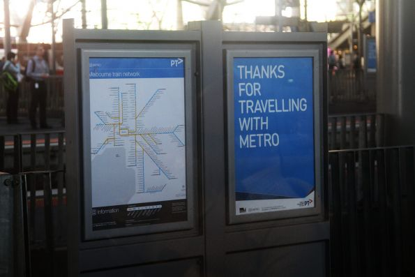 Useless 'Thanks for travelling with Metro' poster at a Melbourne railway station