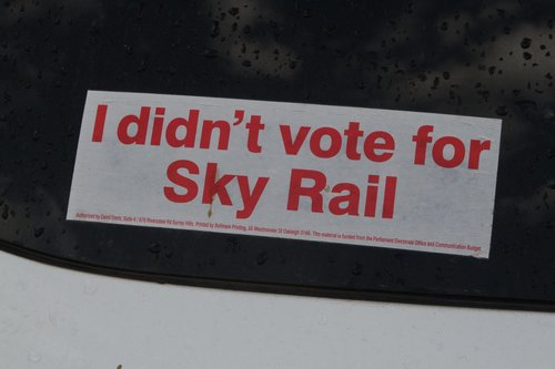 'I didn't vote for Sky Rail' bumper sticker