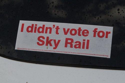 'I didn't vote for Sky Rail' bumper sticker