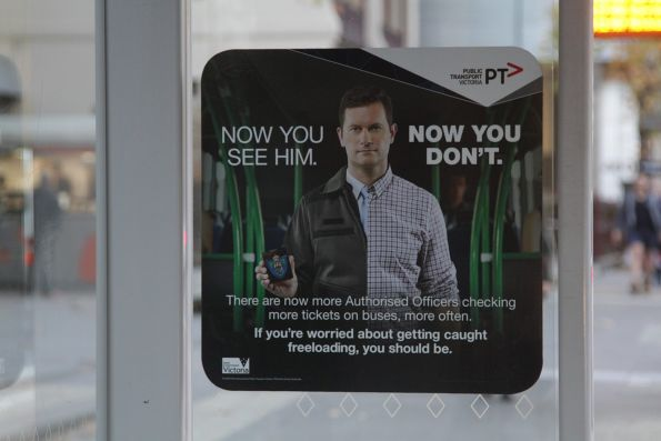'Now you see him. Now you don't.' fare evasion poster at a bus stop