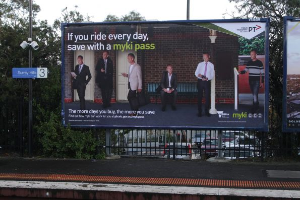 'If you ride every day, save with a myki pass' billboard at Surrey Hills station