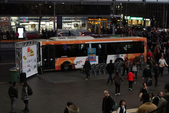 PTV liveried bus from Moreland Buslines at Southern Cross Station for Bus Safety Week