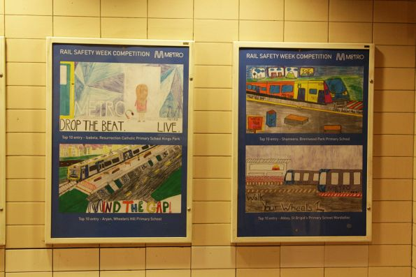 Rail Safety Week poster competition winners on display at Flagstaff station