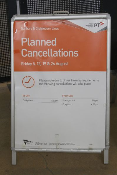 Planned cancellations notice on the Sunbury line due to driver training requirements