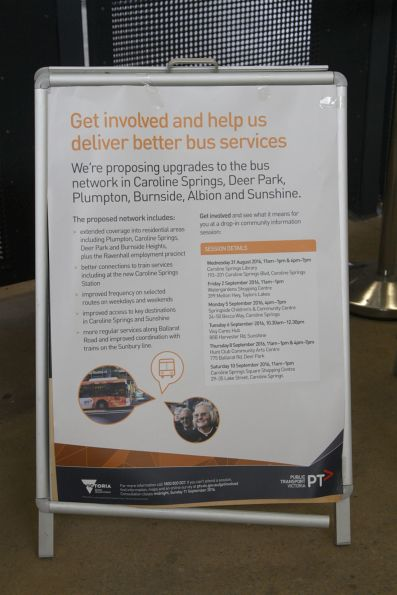 PTV consultation poster for upcoming bus network changes around Sunshine and Caroline Springs