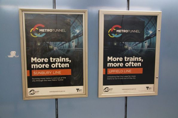'More trains more often' promotions for the Metro Tunnel at Parliament station
