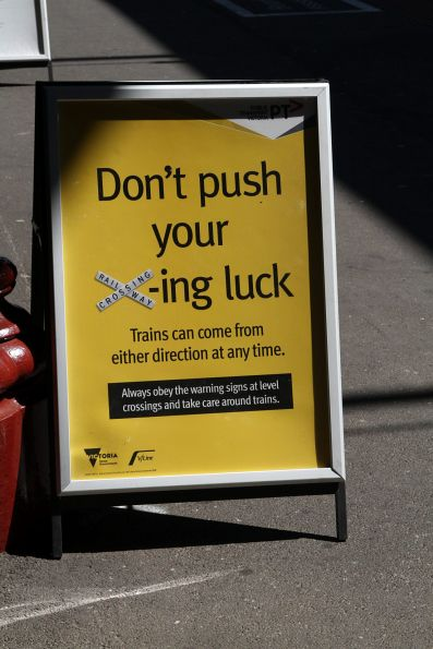 'Don't push your X-ing luck' poster at Geelong station