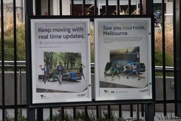 PTV posters promoting 'real time updates' and 'Australian Open tram services'