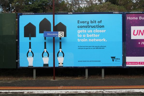 PTV 'Every bit of construction gets us closer to a better train network' billboard at Moorabbin station