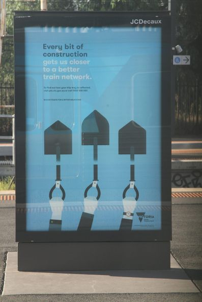PTV 'Every bit of construction gets us closer to a better train network' advertisement at Footscray station
