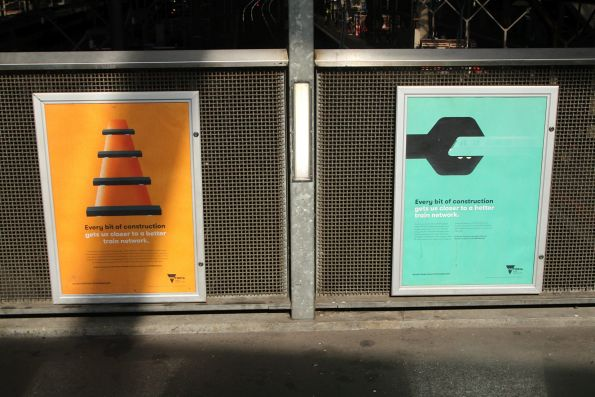 PTV 'Every bit of construction gets us closer to a better train network' advertisement at Southern Cross Station