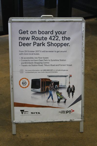 Promotion for the new route 422 bus service between Sunshine and Deer Park