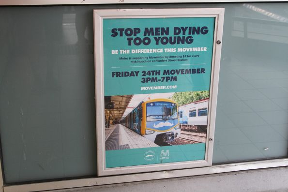 Metro Trains Melbourne poster promoting Movember