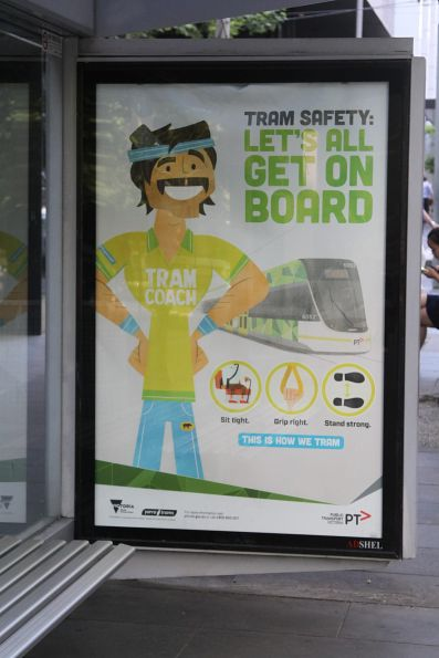 'Tram Coach' safety promotion at a Melbourne CBD tram stop