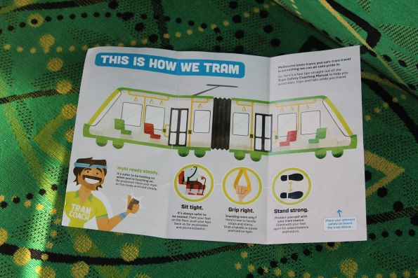 'This is how we tram' flyer onboard a tram
