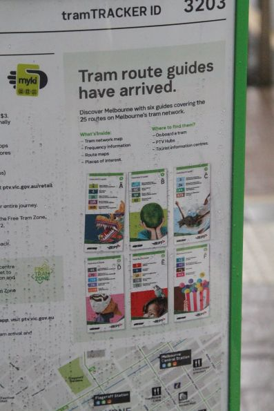 'Tram route guides' promotion at a CBD tram stop