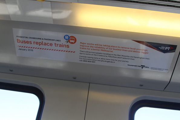 'Buses replace trains on the Cranbourne, Cranbourne and Frankston in January 2018' notices onboard a Siemens train