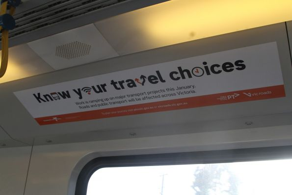 'Know your travel choices' notices onboard a Siemens train