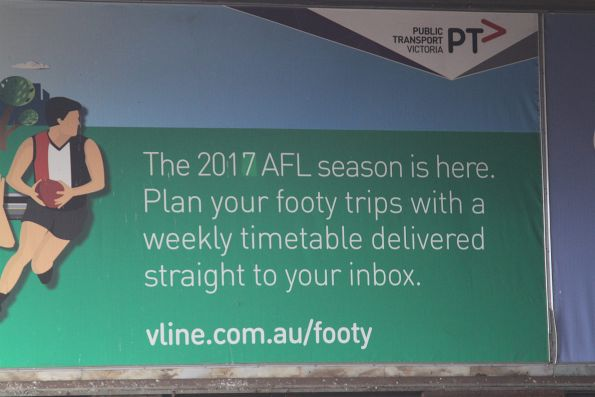 V/Line football train promotion at Geelong station
