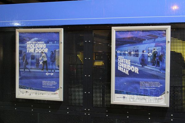 'Don't hold or block the doors' posters at Sunshine station