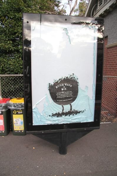Faded 'Dumb Ways to Die' poster at North Williamstown station