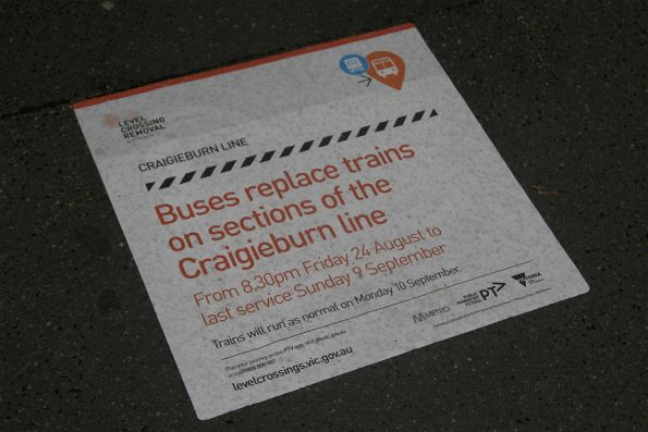 'Buses replace trains on the Craigieburn line' notice at North Melbourne station