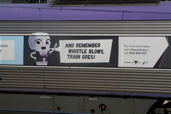 'An important message from Wendy Whistle' promotion on the side of VLocity carriage 1337