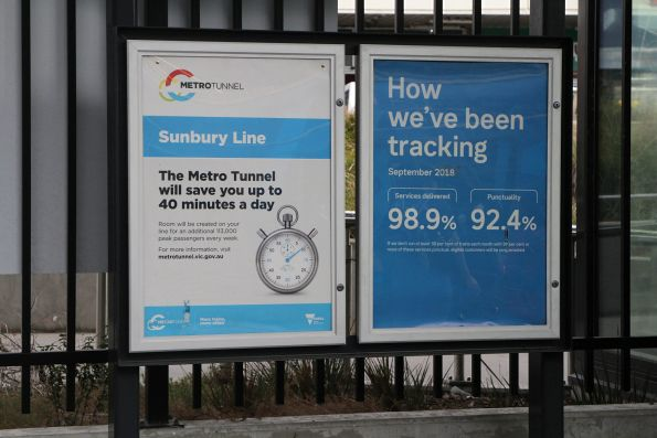 'Sunbury line: the Metro Tunnel will save you up to 40 minutes a day' promotion at Footscray station