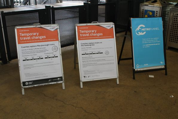 Notices at Sunshine station of upcoming replacement coaches on the Maryborough and Geelong lines