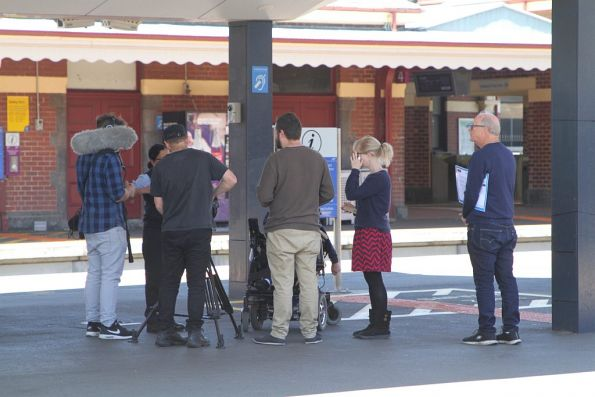 Filming a promotional film at Footscray station