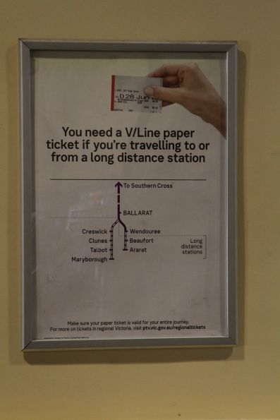 'You need a V/Line paper ticket if you're travelling to or from a long distance station' poster