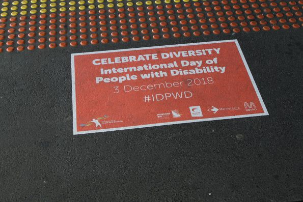 Forgotten 'International Day of People with Disability' signage at Sunshine station