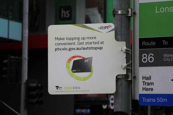 'Myki auto topup' promotion at a Melbourne CBD tram stop