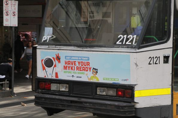 'Just landed in town? Have your myki ready' sticker on tram B2.2121