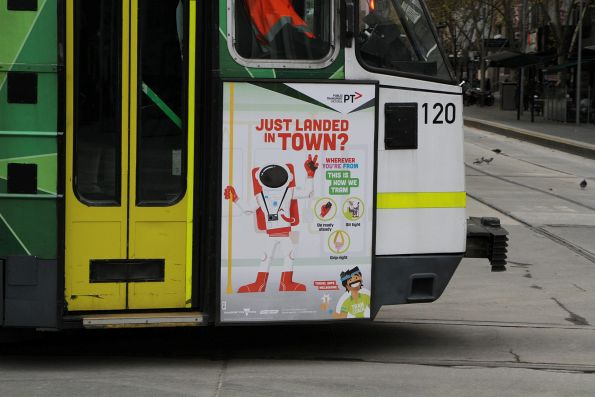 'Just landed in town? Wherever you're from, this is how we tram' poster on Z3.120
