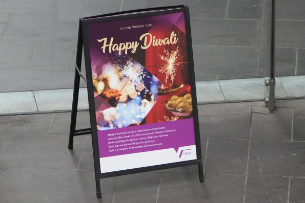 V/Line wishes you happy Diwali' sign at Southern Cross